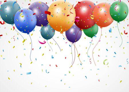 Ilustración del vector de la celebración de Año Nuevo de cumpleaños con globo y la cinta