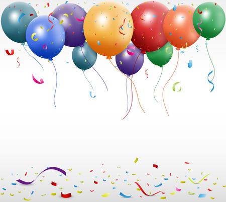 celebracion cumplea�os: Ilustraci�n vectorial de la celebraci�n de cumplea�os con el globo y la cinta Vectores