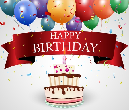 Ilustración vectorial de tarjeta de cumpleaños con pastel y la cinta Foto de archivo - 28069348