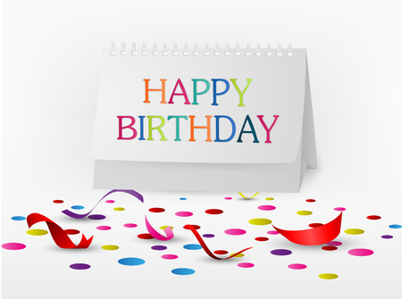 congratulations word: Vector Illustration of Happy birthday greetings card with note paper
