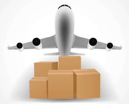 overnight delivery: Illustration of airplane delivery concept with pile of packages