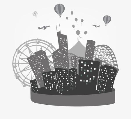 panorama city: Illustration of City Skyline Silhouette background  Illustration