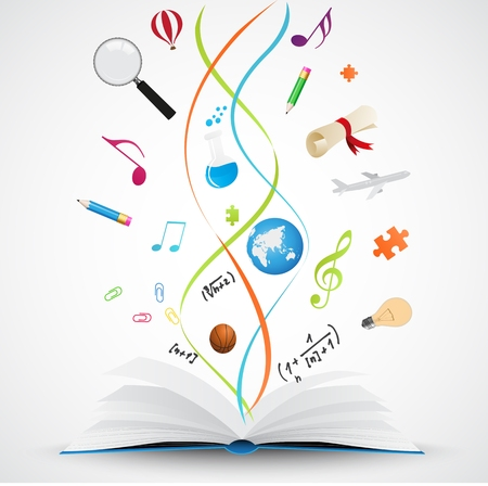 Vector Illustration of Open book with science icon  Vector