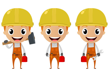 construction worker cartoon: construction worker cartoon character  Illustration