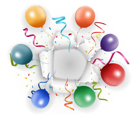 Celebration with confetti and balloon vector illustration Vector