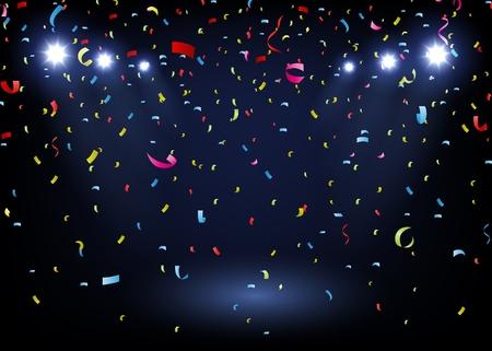 kleurrijke confetti op een zwarte achtergrond met schijnwerpers Stock Illustratie