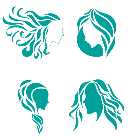 make up face: Hair fashion icon symbol of female beauty