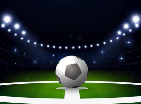 Soccer stadium with ball and spotlight at night