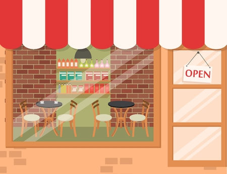 shop floor: Coffee shop background  Illustration