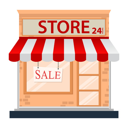 small town: Store icon isolated on white  Illustration