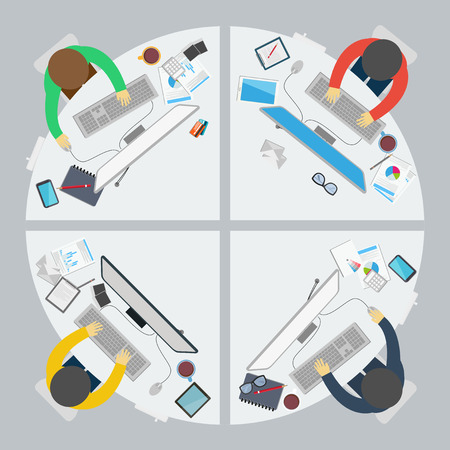 conference room table: Vector Business work office on flat style