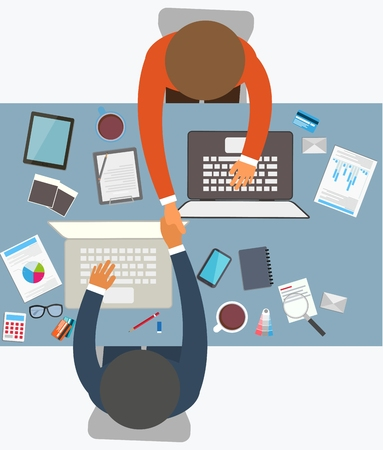 trust: Flat design style of successful partnership Illustration Illustration