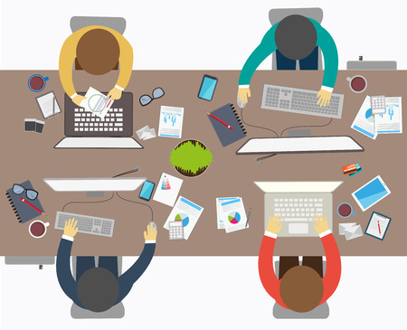 workstation: Flat design style of business meeting, office worker Illustration