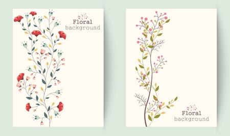 Fleures: Illustration de rétro belle fleur bannières