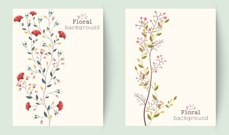 green floral: Illustration of Retro beautiful flower banners  Illustration
