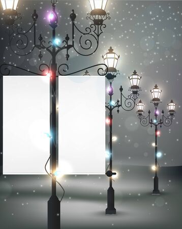 street lamps: Christmas background with streetlight