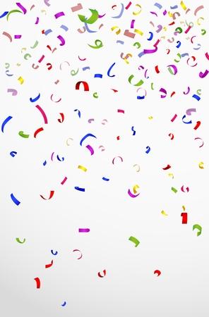 Colorful confetti on white background for celebration Vectores