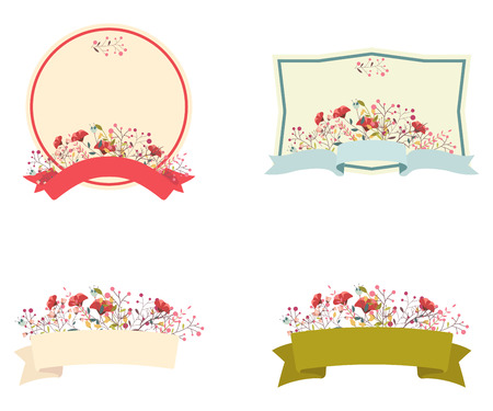 announcement icon: Retro floral frame and ribbon set