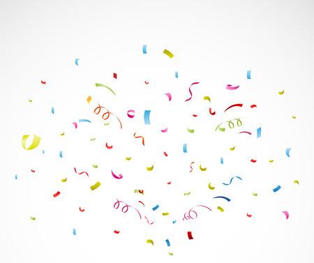 Färgglada konfetti på vit bakgrund Illustration