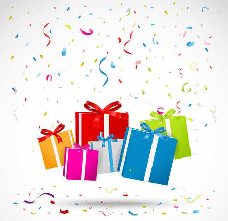 Celebration background with colorful gift box Иллюстрация