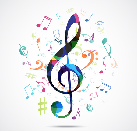musical notes background: Abstract background Colorful music notes