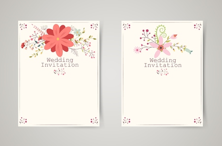 Retro beautiful flower invitation banners