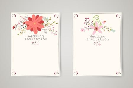 Retro beautiful flower invitation banners