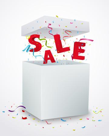 Sale message box with confetti Vector