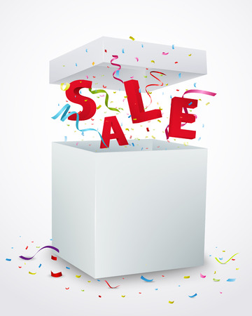message box: Sale message box with confetti