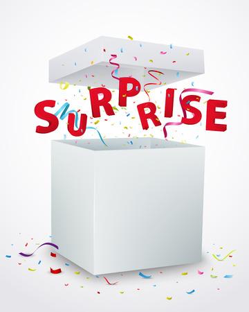 �tonnement: Surprise bo�te de message avec des confettis