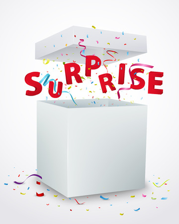 to surprise: Surprise message box with confetti