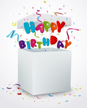 Happy birthday message box with confetti Vector