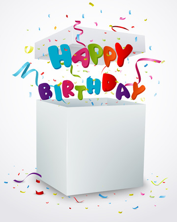 message box: Happy birthday message box with confetti Illustration