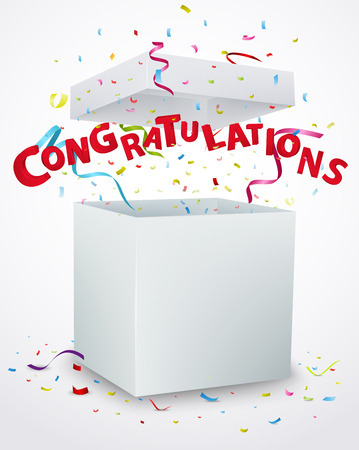 message box: Congratulation message box with confetti