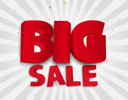 sales promotion: Big sale poster with colorful confetti