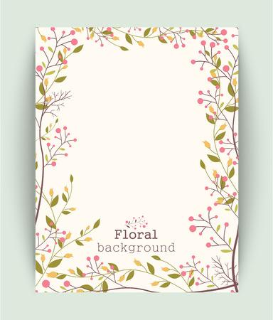 jardines flores: Retro hermoso marco de la flor