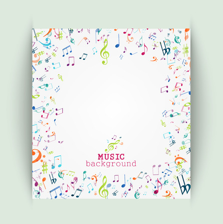 old album: Colorful music notes background