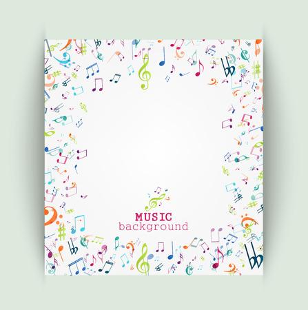 pentagrama musical: Notas de la m�sica de fondo de colores