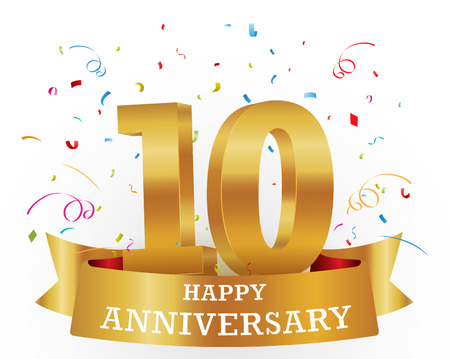10 years: Anniversary Celebration with confetti