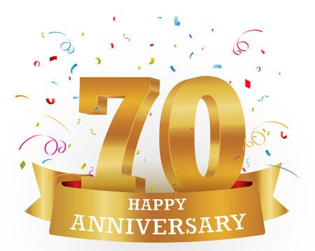 70: Anniversary Celebration with confetti