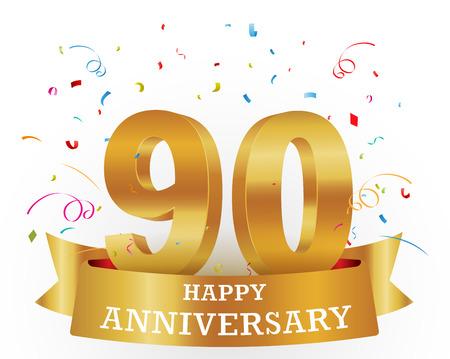 90: Anniversary Celebration with confetti