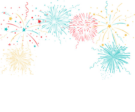 isolated on white: Colorful fireworks background Illustration