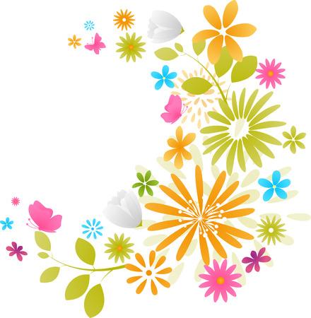 flora  vector: Beautiful fresh flowers Illustration