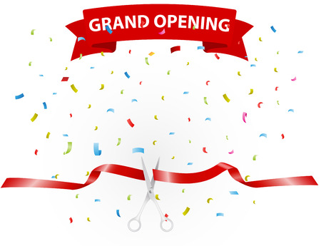 Grand opening background with confetti Ilustração