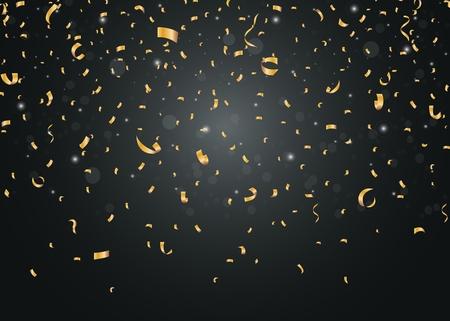 慶典: 金色紙屑隔絕在黑色的背景 向量圖像