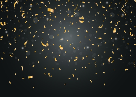 Golden confetti isolated on black background Stock Illustratie