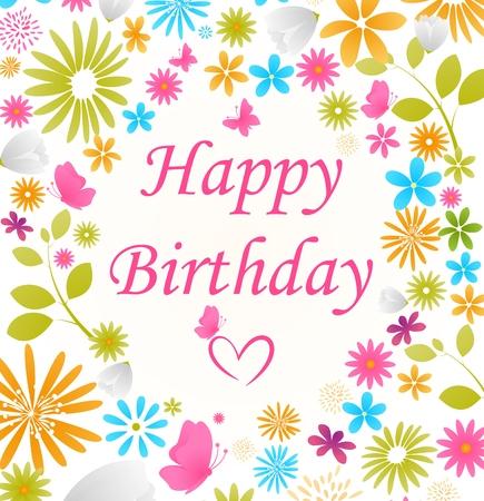 flores de cumpleaños: Tarjeta de cumpleaños hermosa