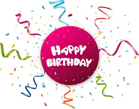 the inscription: Birthday celebration with colorful confetti Illustration