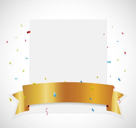 Birthday Celebration banner with gold ribbon Illustration