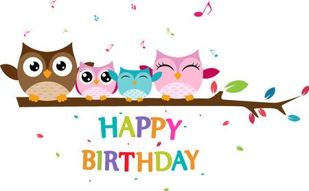 Happy owl family celebrate birthday